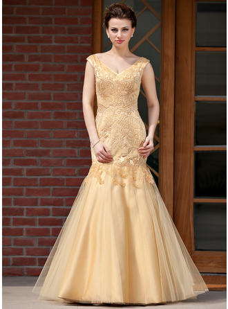 Trumpet/Mermaid Satin Tulle Sleeveless V-neck Floor-Length Zipper Up Mother of the Bride Dresses