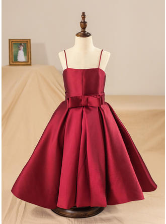 Straps Ball Gown Flower Girl Dresses Satin Bow(s) Sleeveless Tea-length