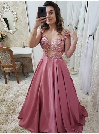 Charmeuse Sleeveless A-Line/Princess Prom Dresses Scoop Neck Beading Appliques Floor-Length