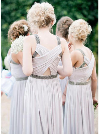 A-Line/Princess Ruffle Beading Chiffon Sleeveless Bridesmaid Dresses