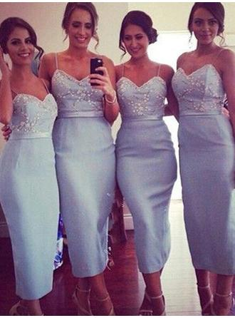 Sheath/Column Satin Bridesmaid Dresses Lace Sweetheart Sleeveless Tea-Length