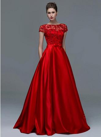 A-Line/Princess Scoop Neck Floor-Length Evening Dress With Beading (017210044)
