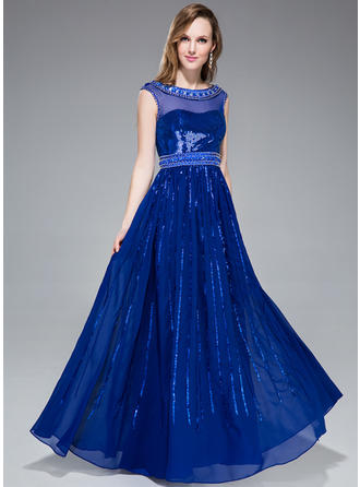 Chiffon Sequined Sleeveless A-Line/Princess Prom Dresses Scoop Neck Beading Floor-Length