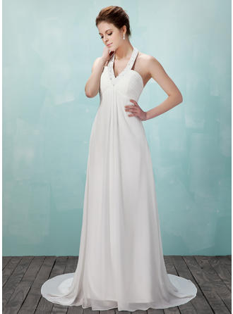 Princess Court Train Halter Empire Chiffon Wedding Dresses