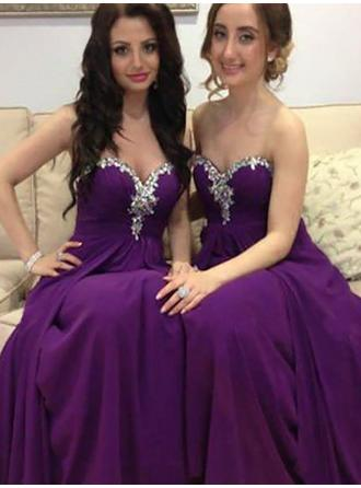 Chiffon Sleeveless A-Line/Princess Bridesmaid Dresses Sweetheart Beading Floor-Length (007211690)