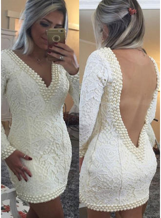 Sheath/Column V-neck Lace Long Sleeves Short/Mini Beading Cocktail Dresses
