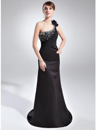 Chic One-Shoulder Sheath/Column Satin Evening Dresses
