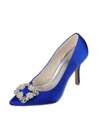 Women's Closed Toe Pumps Stiletto Heel Satin With Rhinestone Wedding Shoes