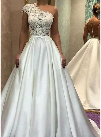 2019 New Satin Wedding Dresses A-Line/Princess Sweep Train One Shoulder Sleeveless