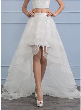 Separates Asymmetrical Organza Wedding Skirt With Flower(s)