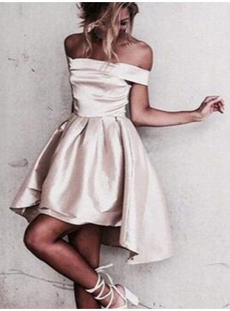 Simple Satin Homecoming Dresses A-Line/Princess Asymmetrical Off-the-Shoulder Sleeveless