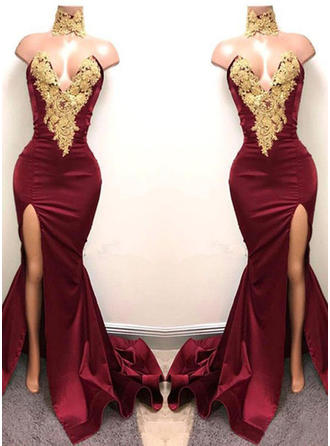 Trumpet/Mermaid Satin Prom Dresses Chic Sweep Train Sweetheart Sleeveless