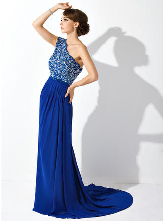 Modern シフォン ワンショルダー Aライン/プリンセスライン2 ミセスドレス (008006081)