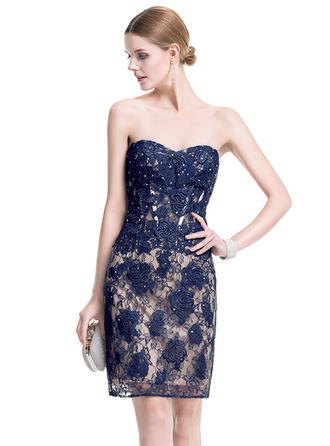 Sheath/Column Sweetheart Lace Sleeveless Short/Mini Beading Cocktail Dresses