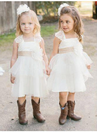 Modern Knee-length A-Line/Princess Flower Girl Dresses Square Neckline Satin/Tulle/Lace Sleeveless (010145205)