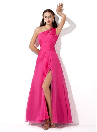 Chiffon Sleeveless A-Line/Princess Prom Dresses One-Shoulder Ruffle Beading Sequins Split Front Floor-Length