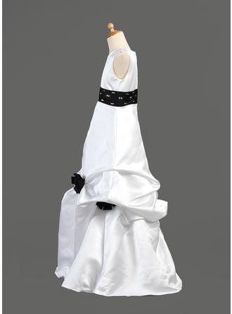 Schmeichelhaft Bodenlang A-Linie/Princess-Linie Blumenmädchenkleider U-Ausschnitt Satin Ärmellos (010002149)