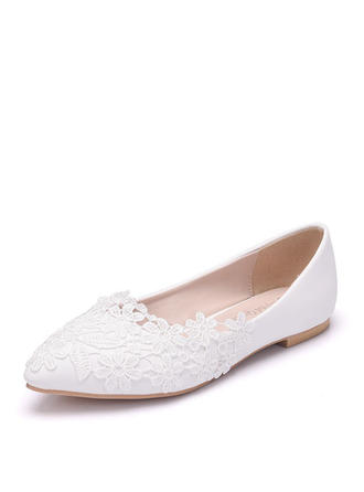 Women's Closed Toe Flats Flat Heel Leatherette With Applique Wedding Shoes
