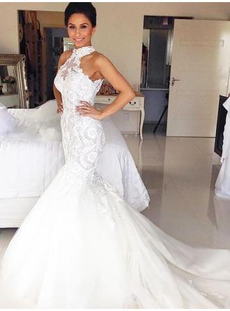 Delicate Court Train Trumpet/Mermaid Wedding Dresses Halter Tulle