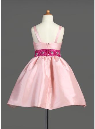 Einfach Knielang A-Linie/Princess-Linie Blumenmädchenkleider Correas de hombro Taft Ärmellos (010007565)