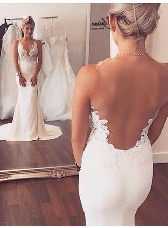 Scoop Trumpet/Mermaid Wedding Dresses Charmeuse Appliques Sleeveless Court Train