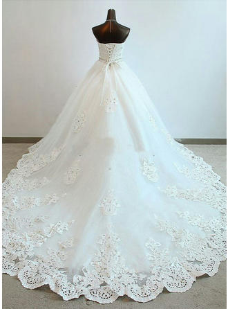 Ball-Gown Sweetheart Cathedral Train Wedding Dress With Beading Appliques Lace