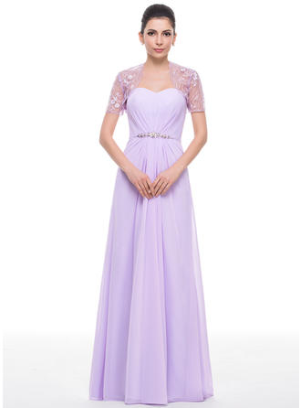 Chiffon Sleeveless Mother of the Bride Dresses Sweetheart A-Line/Princess Ruffle Beading Sequins Floor-Length