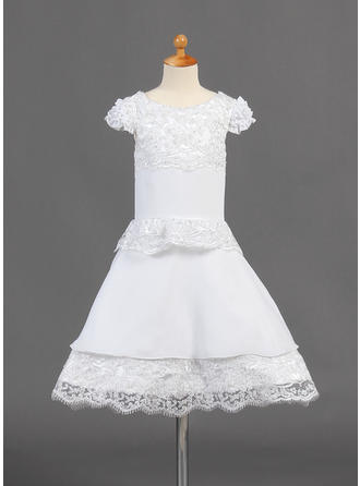 Chic Knee-length A-Line/Princess Flower Girl Dresses Scoop Neck Chiffon Short Sleeves (010015774)