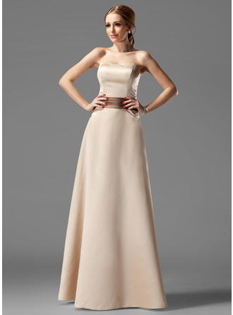 Satin Sleeveless A-Line/Princess Bridesmaid Dresses Strapless Sash Floor-Length