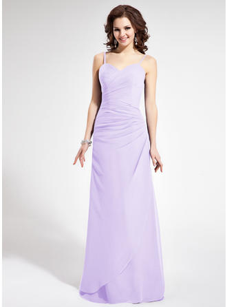 Sheath/Column Chiffon Bridesmaid Dresses Ruffle Sweetheart Sleeveless Floor-Length