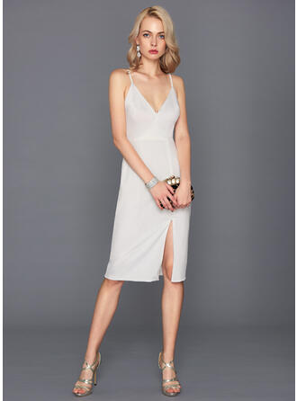 Sheath/Column Split Front Jersey Homecoming Dresses V-neck Sleeveless Knee-Length