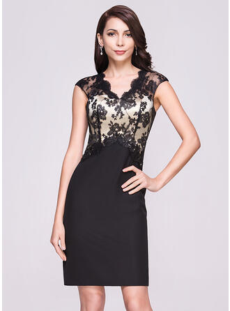 Sheath/Column V-neck Knee-Length Chiffon Lace Cocktail Dress