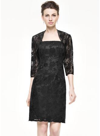 Sheath/Column Lace Sleeveless Knee-Length Zipper Up Mother of the Bride Dresses