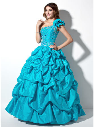 Ball-Gown One-Shoulder Floor-Length Taffeta Prom Dress With Ruffle Beading