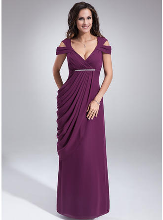 Chiffon Sleeveless Mother of the Bride Dresses V-neck Sheath/Column Ruffle Beading Floor-Length