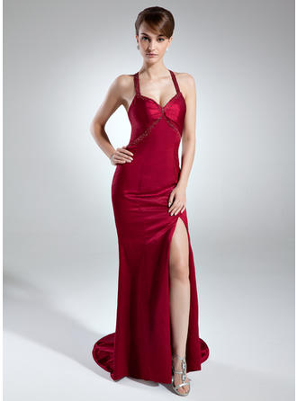 Trumpet/Mermaid Sweetheart Charmeuse Sleeveless Sweep Train Beading Split Front Evening Dresses (017016015)
