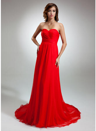 A-Line/Princess Sweetheart Chiffon Sleeveless Court Train Ruffle Evening Dresses