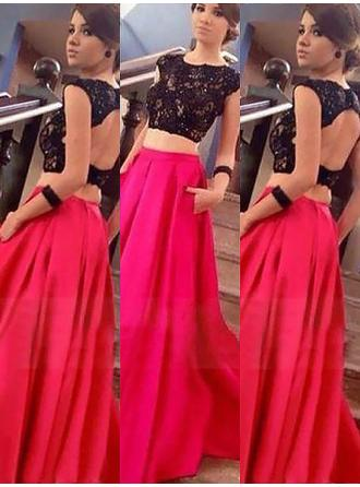 A-Line/Princess Scoop Neck Satin Sleeveless Floor-Length Lace Evening Dresses