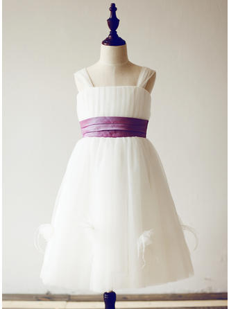 Simple Straps A-Line/Princess Flower Girl Dresses Knee-length Tulle Sleeveless
