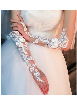 Lace Ellenbogen Länge Braut Handschuhe