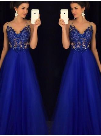 A-Line/Princess V-neck Tulle Sleeveless Floor-Length Lace Beading Appliques Lace Evening Dresses
