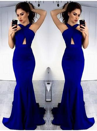 Satin Sleeveless Sheath/Column Prom Dresses Halter Ruffle Sweep Train