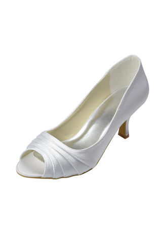 Women's Peep Toe Sandals Low Heel Satin Wedding Shoes