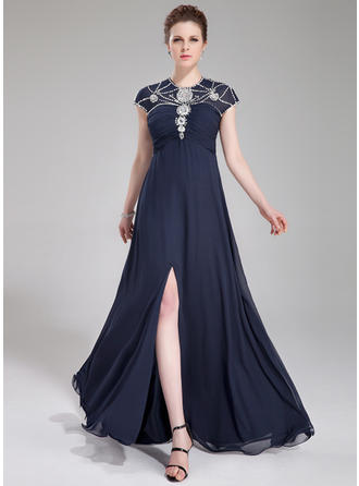 A-Line/Princess Scoop Neck Chiffon Sleeveless Floor-Length Ruffle Beading Sequins Split Front Evening Dresses