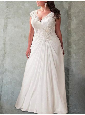 V-neck Empire Wedding Dresses Chiffon Ruffle Lace Sleeveless Sweep Train (002218624)