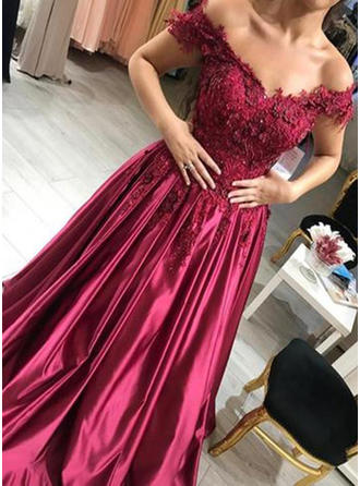 Ball-Gown Off-the-Shoulder Floor-Length Satin Evening Dresses With Beading Appliques Lace
