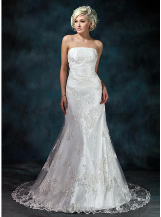 2019 New Court Train Trumpet/Mermaid Wedding Dresses Strapless Tulle Sleeveless
