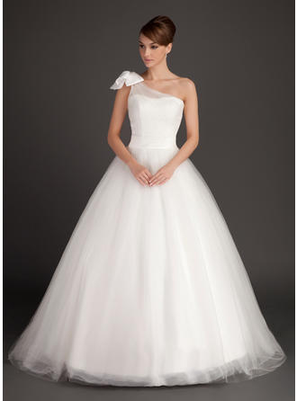 2019 New Sweep Train Ball-Gown Wedding Dresses One Shoulder Tulle Sleeveless