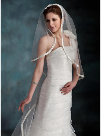 Cathedral Bridal Veils Tulle One-tier Drop Veil/Mantilla With Ribbon Edge Wedding Veils