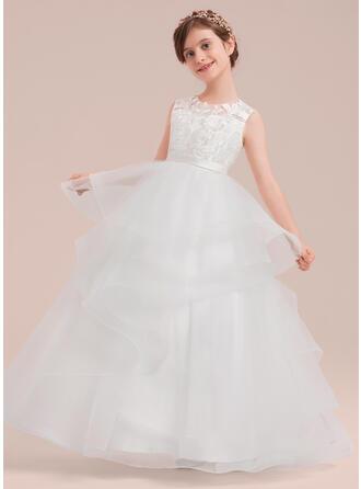 Ball Gown Floor-length Flower Girl Dress - Satin/Tulle/Lace Sleeveless Scoop Neck